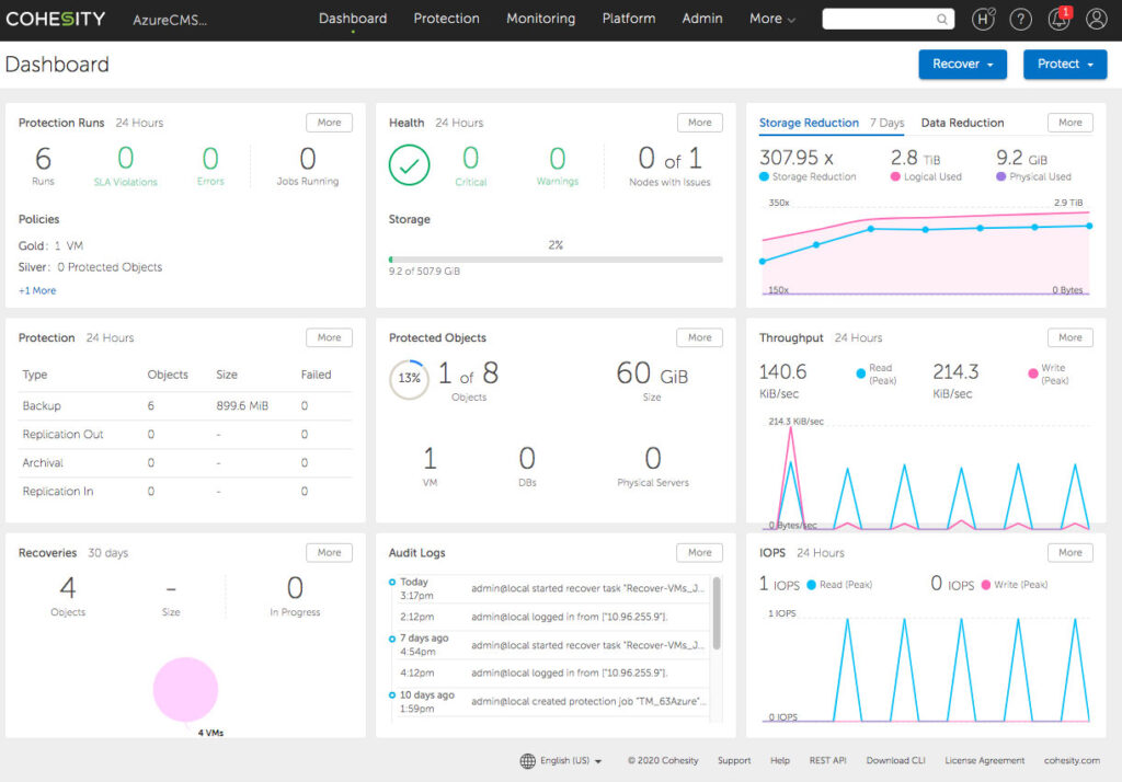 Cohesity 6.3 Dashboard