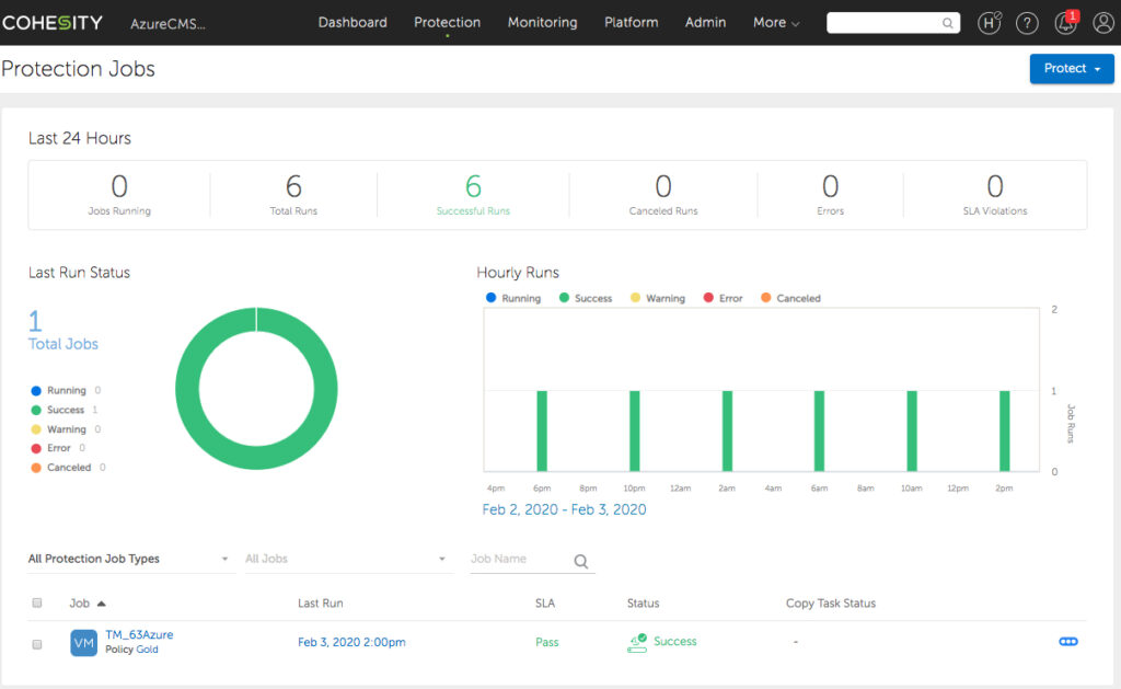 Cohesity 6.3 : Protection Jobs