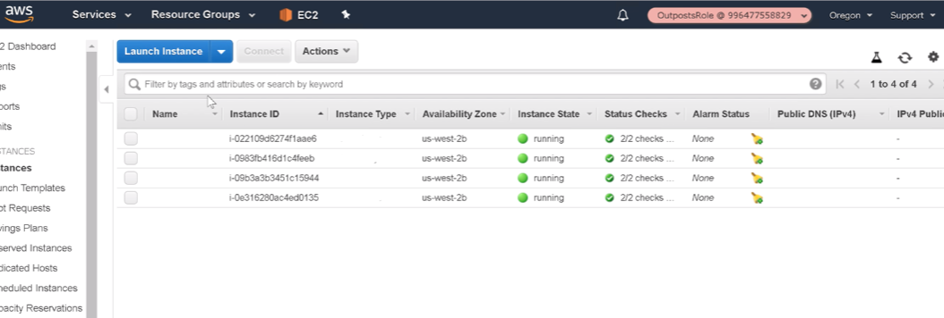 AWS Outposts console with Cohesity cluster running