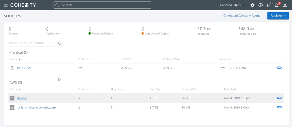 Cohesity UI with AWS Outposts, AWS Cloud and server registered sources
