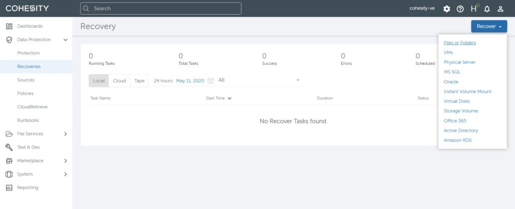 Figure 5 - Recover data in Google Cloud VMware Engine environment
