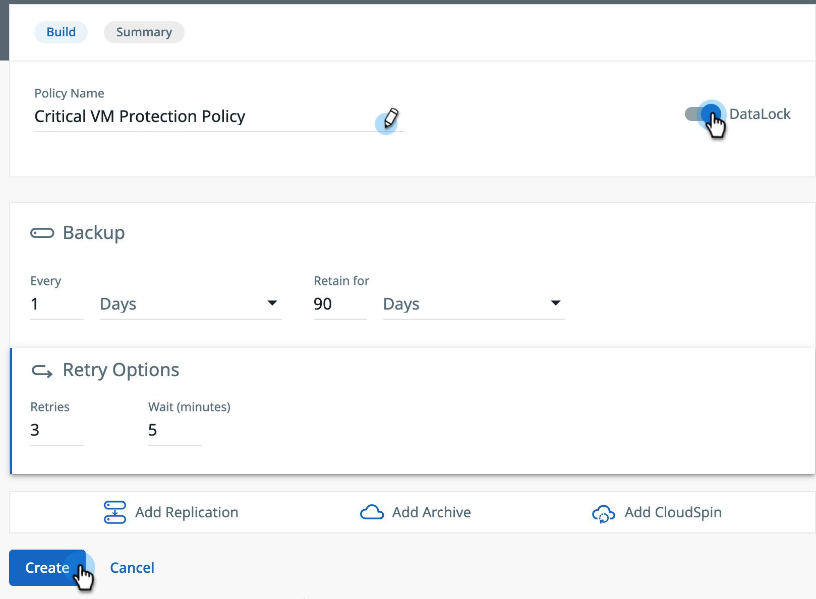 Backup Immutability | DataLock Expiration Screenshot