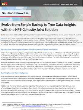 ESG Solution Showcase HPE Cohesity White paper