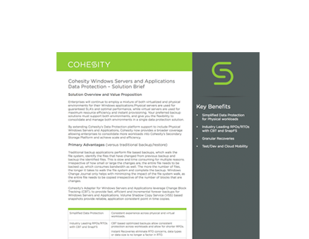 Cohesity Windows Servers and Applications Data Protection