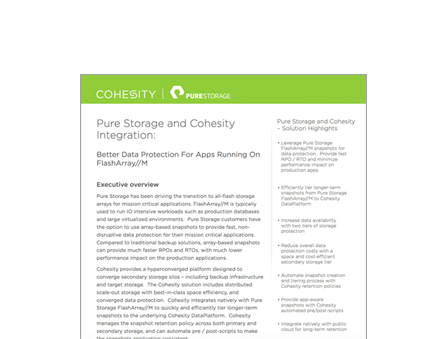 Pure Storage and Cohesity Integration