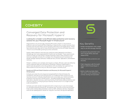 Converged Data Protection and Recovery for Microsoft Hyper-V