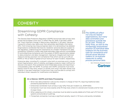 Streamlining GDPR Compliance with Cohesity