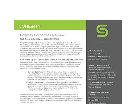 Cohesity Corporate Overview