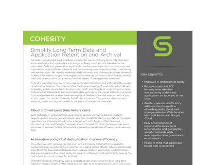 Simplify Long-Term Data and Application Retention and Archival