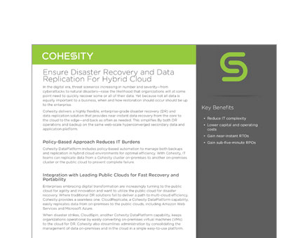 Ensure Disaster Recovery and Data Replication For Hybrid Cloud