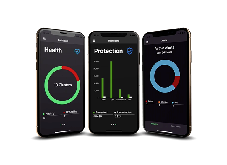 Three cell phones showing images of the Helios mobile app